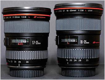 Canon EF 16-35mm f/2.8L USM and Canon EF 17-35mm f/2.8L USM.   Photo (c) 2001 Fred Miranda.