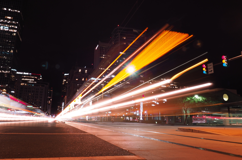 Phoenix Light Rail at Night with Live Composite Mode -- OM-D E-M1 + 7-14mm F/2.8 PRO