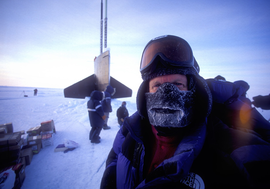 Olympus Visionary, Jay Dickman in Arctic, on shoot for National Geographic.  USS Hawkbill, a nuclear sub, had surfaced through the ice a short time before this picture made.  Air temperature was about -43 F
