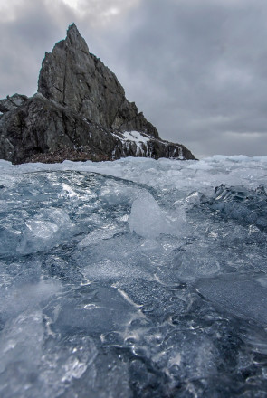At Elephant Island in the Southern Ocean, the spot where Shackleton's men over-wintered as he sought help, ocean ice with Point Wild landmark in background